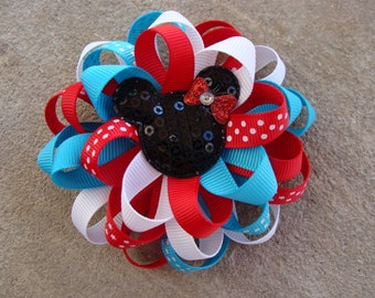 Red and Blue Minnie Mouse Hair Bow Loopy Hair Bow Disney HairBow White blue and red hair bow