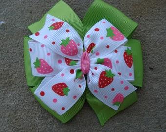 Strawberry Hair Bow Large Hair Bow 4 inch hair bow pinwheel hair bow double layers hair bow
