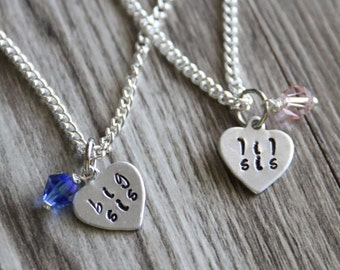 Big Sister Little Sister Personalized Necklace Silver Plated, Heart Necklace, Birthstone Glass Bead, Hand Stamped Big Sis Lil Sis Set