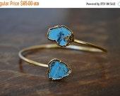 VALENTINES SALE Lux Divine Turquoise Wrap Gemstone Bracelet /// Gold