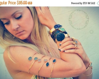 ON SALE ARM Band /// Upper Arm Cuff /// Lux Divine Double Druzy Gemstone Arm Wrap/// Gold