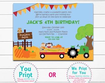 Pumpkin Patch Birthday Party Invitation - farm birthday invitation - pumpkin farm birthday