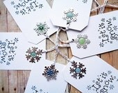 Let It Snow Tags with Snowflake Charms Christmas Snowflakes