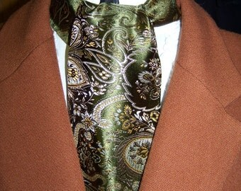 Cravat, In A Gold, Olive Green and Silver Paisley Brocade Floral Pattern Fabric or Ascot Mens Victorian Tie