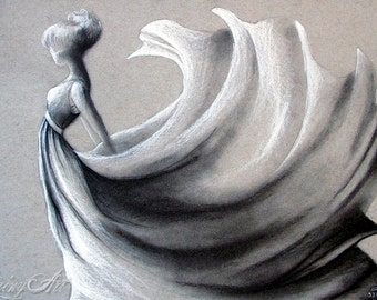 Windy Day -  Charcoal sketch Print- matted print -5x7 - 8x10