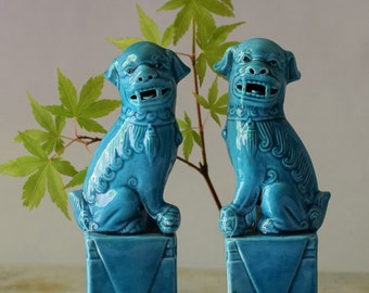 Vintage Chinese Foo Dogs Turquoise Blue Ceramic Figurines Lucky Charm Oriental Chinoiserie Decor