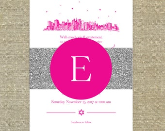 Bat Mitzvah New York City Skyline invitations and rsvp cards; set of 25 with envelopes