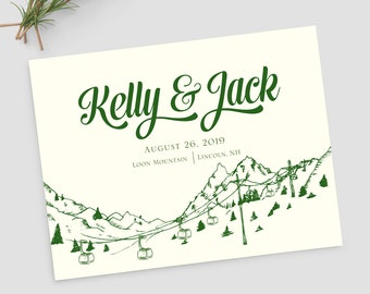 Gondola sketch save the date; mountain wedding save the dates; Aspen, Vail, Breckenridge  SAMPLE ONLY