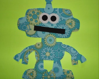 Iron On Applique Chunky Blue Green Gear ROBOT