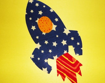 Iron On Fabric Applique Blue Yellow Stars SPACE ROCKET