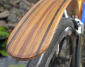 Woody's Chop Chort Rear Teak with Wenge edge stripes fender.  Bicycle fenders, fixie, fixed gear, hipster, splash guard, mud guard, fender