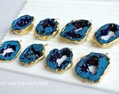 7% off, Druzy, Druzy pendant, Druzy connector, Druzy Geode, Matte Gold plated Edge Druzy agate, drusy, blue druzy, druzy jewelry JSl-8967