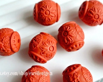 Tibet beads, 7% off Carved stone beads, Cinnabar carved beads in red color 15mm*17mm - #7088