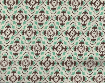 Cotton Fabric - Teal, Brown and Cream Medallion Type Print - 1 Yard