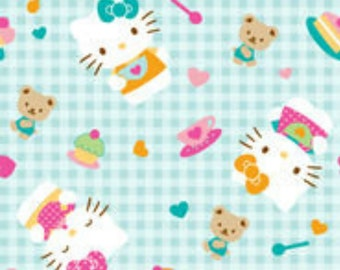 Cotton Fabric - Hello Kitty Tea Party on Gingham Like Print - by the YARD