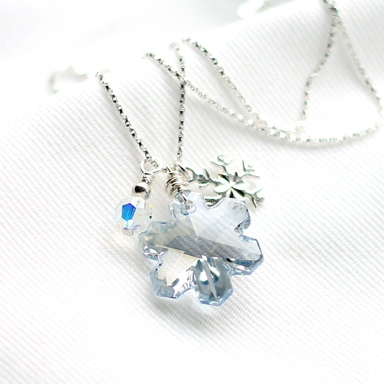 blue snowflake necklace swarovski pendant