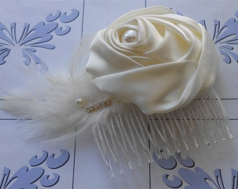 Ivory Bridal Comb 1920 Style Headpiece Rolled Rose Combs, Wedding Prom Sweet 16 Special Occasion Hand Made Hair Accessories