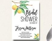 Citrus Bridal Shower Watercolor Invitation Lemons Oranges