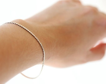 Vintage Sterling Silver Snake Chain Bracelet- Vintage Chic Simple Everyday Jewelry
