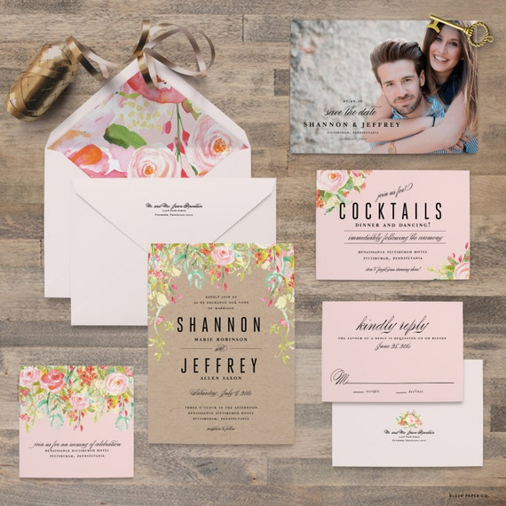 Sample Wedding Invitation Card: Items Similar To Watercolor Flower Wedding Invitation