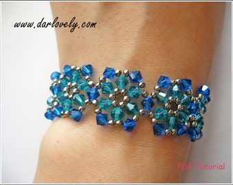 Beaded Bracelet PDF Pattern - Ocean Flower Bracelet (BB058) - Beading Jewelry PDF Tutorial (Digital Download)