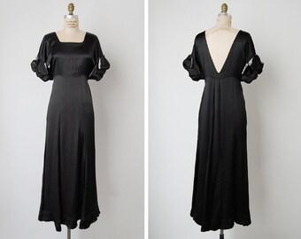 vintage 1930s dress / 30s black silk dress / 1930s evening gown / Obsidian dress