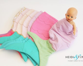 "SALE Doll mermaid tail quilt blanket 18""doll baby- Only 1  blankie sleeping bag"