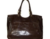Dark brown leather tote bag handbag fits a 17 inches laptop Julia xl