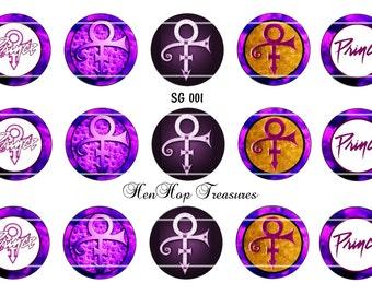 """Set of 15  1"""" Digital Bottle Cap Images ( SG 001) Prince"""