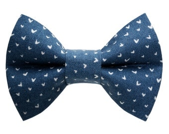 """Cat Bow Tie - """"The First Love"""" -  Blue with White Hearts"""