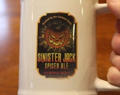 Sinister Jack Ceramic Beer Stein Mug 16 oz Halloween Craft Beer