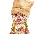 Otter Watercolor Painting - 5x7 PRINT, Food Illustration, Animal Watercolour, Kitchen Art, Sandwich