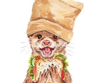 Otter Watercolor Painting - 5x7 PRINT, Food Illustration, Animal Watercolour, Kitchen Art, Sandwich
