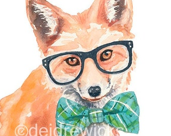 Red Fox PRINT - Watercolor Painting PRINT, Nerd, Nursery Art, Funny Watercolour