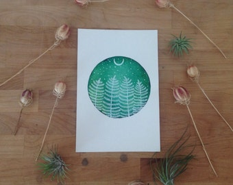 Original Painting-pine forest and the crescent moon, Elise Mahan Fine Art