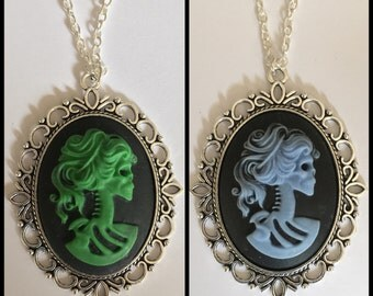 Large Skeleton Lady Cameo Necklace