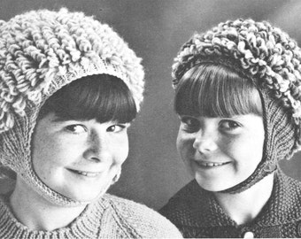 vintage knitting pattern kids childs childrens hairy hair curly earflap ear flap chin tie hat winter toque tobogan printable pdf download