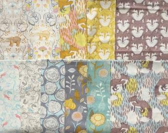 Super SALE : Timber and Leaf Sarah Watts Blend fabrics 11 FQ set oop vhtf