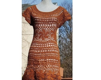 "Abode Brown Lace dress perfect for the beach or night out with friends Size S,  34"" Lengh"