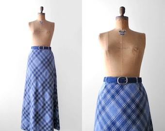 1970's maxi skirt. m. 70 blue skirt. long. flared. belt. vintage 70's wool plaid skirt. medium.