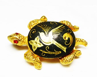 Damascene Turtle Brooch - Reptile Pin with Bird on it's Back - Birds & Turtles on Black and Gold - Signed Vintage Jewelry