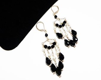 Vintage Sterling Chandelier Earrings for Pierced Ears - Black Glass Bead & White Faux Pearl Chains