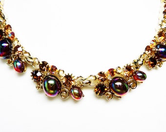 Vintage Lisner Rhinestone Necklace with Iridescent Oval Egg Cabochons - Desinger Signed Choker