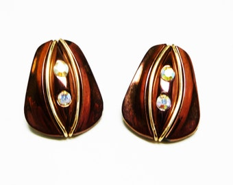 Brown Bronze Earrings with Iridescent Aurora Borealis Rhinestones; Vintage Clip on Style; Western Germany European Vintage Jewelry