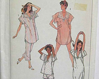 Easy Misses' Nightgown and Pajamas in 2 Lengths, Simplicity 7398 Simplicity Sewing Pattern UC Size Small 10-12