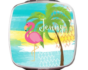 Personalized Compact Mirror, Pink Flamingo Personalized Custom Monogrammed Compact Mirror, Teacher Gift, Bridal Gift, Party Gift