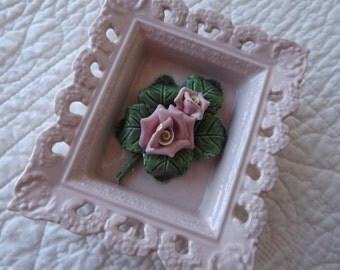 Vintage California Pottery Valley Vista Pink Roses Square Picture Walling Hanging
