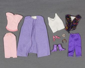 1980s Barbie clothes 2 outfits, 6 pieces of clothing, Boots, Shoes, Tiera, Bracelets, Retro Vest, Tank top, Capris, Long vest, 2 piece dress