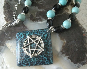 Turquoise Pentagram Necklace, wiccan jewelry pagan jewelry wicca jewelry witch witchcraft metaphysical magic pentacle gothic necklace