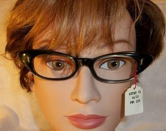 Vintage Very Cool Retro Lotus Eyeglasses Frames NOS Black Plastic